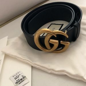 Authentic Gucci Leather belt w/Double G buckle 1.5